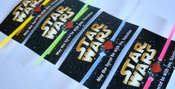 Star Wars Printable Valentines Lightsaber Glow Stick Valentines Cards