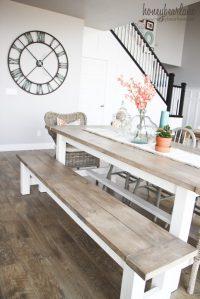 DIY Farmhouse Table and Bench - Honeybear Lane