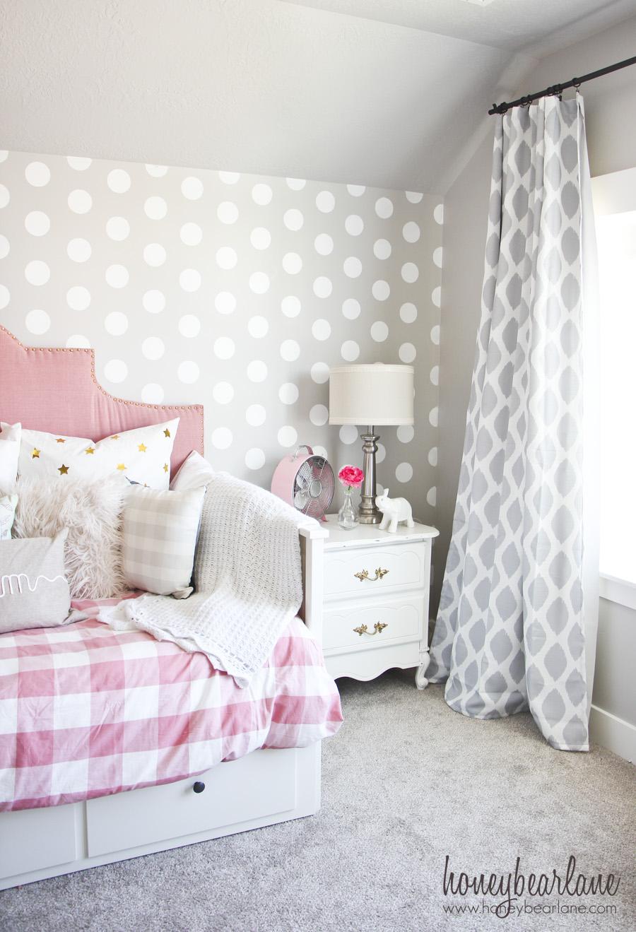 Teenage Girl Room White And Gold Polka Dot Wallpaper Pink And Gray Girl S Bedroom Honeybear Lane