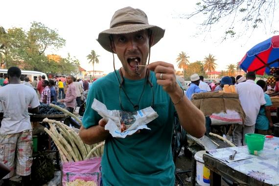 Eating seafood in Zanzibar, Tanzania