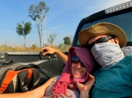 hitchhiking in Cambodian pickup