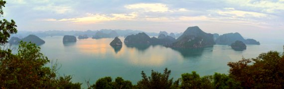 Limestone karst towers of Ha Long Bay Vietnam