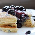 Fluffy Whole Wheat Blueberry Pancakes + Warm Blueberry Butter Sauce