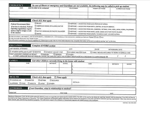 Enrollment Paperwork / HRCSD Enrollment Form