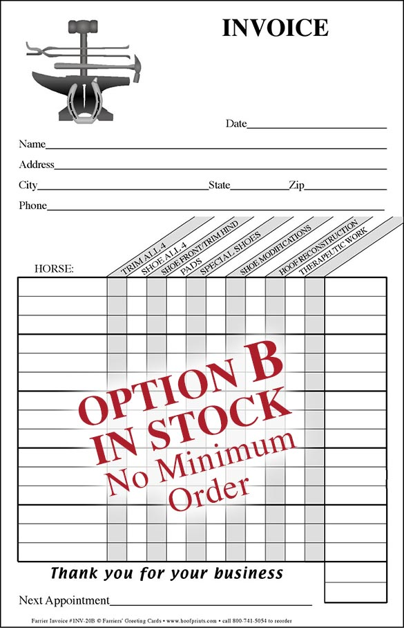 Stock Invoice Pad - Tools of the Trade design-wwwhoofprints
