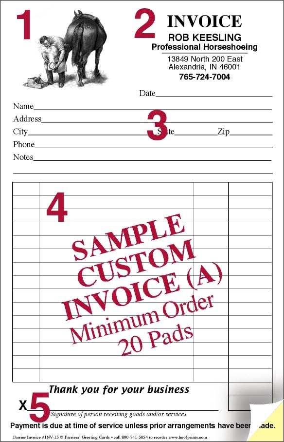CUSTOM Invoice Pads - Engraved Farrier design-wwwhoofprints
