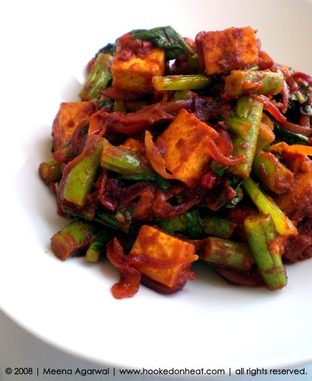 Recipe for Chilli Tofu with Beans & Bok Choy taken from www.hookedonheat.com. Visit site for detailed recipe.