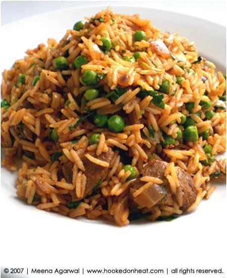 Recipe for Spiced Lamb Pilaf, taken from www.hookedonheat.com. Visit site for detailed recipe.