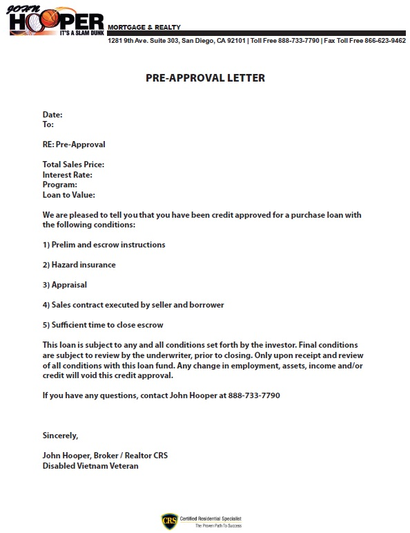PreApproval Letter John Hooper Mortgage And Realty