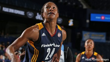 ROSEMONT, IL - SEPTEMBER 17:  Tamika Catchings #24 of the Indiana Fever boxes out and waits for a rebound against the Chicago Sky during Game Three of the Eastern Conference Semifinals on September 21, 2015 at Allstate Arena in Chicago, Illinois. NOTE TO USER: User expressly acknowledges and agrees that, by downloading and/or using this photograph, user is consenting to the terms and conditions of the Getty Images License Agreement.  Mandatory Copyright Notice: Copyright 2015 NBAE (Photo by Gary Dineen/NBAE via Getty Images)