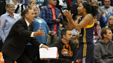 MINNEAPOLIS, MN - OCTOBER 4:  Briann January #20 of the Indiana Fever celebrates during Game 1 of the 2015 WNBA Finals against the Minnesota Lynx on October 4, 2015 at Target Center in Minneapolis, Minnesota.  NOTE TO USER: User expressly acknowledges and agrees that, by downloading and or using this Photograph, user is consenting to the terms and conditions of the Getty Images License Agreement. Mandatory Copyright Notice: Copyright 2015 NBAE (Photo by Jordan Johnson/NBAE via Getty Images)