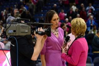 Hartford, CT - February 18, 2013 - XL Center:  Rebecca Lobo and Coach Kim Mulkey of the Baylor University Lady Bears during a regular season game (Photo by Joe Faraoni / ESPN Images)