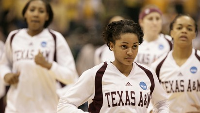 Texas A&M senior guard Sydney Carter and the 2011 NCAA Champion Aggies.