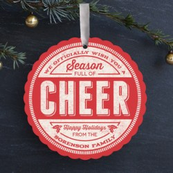 Cheer Stamp Ornament Card