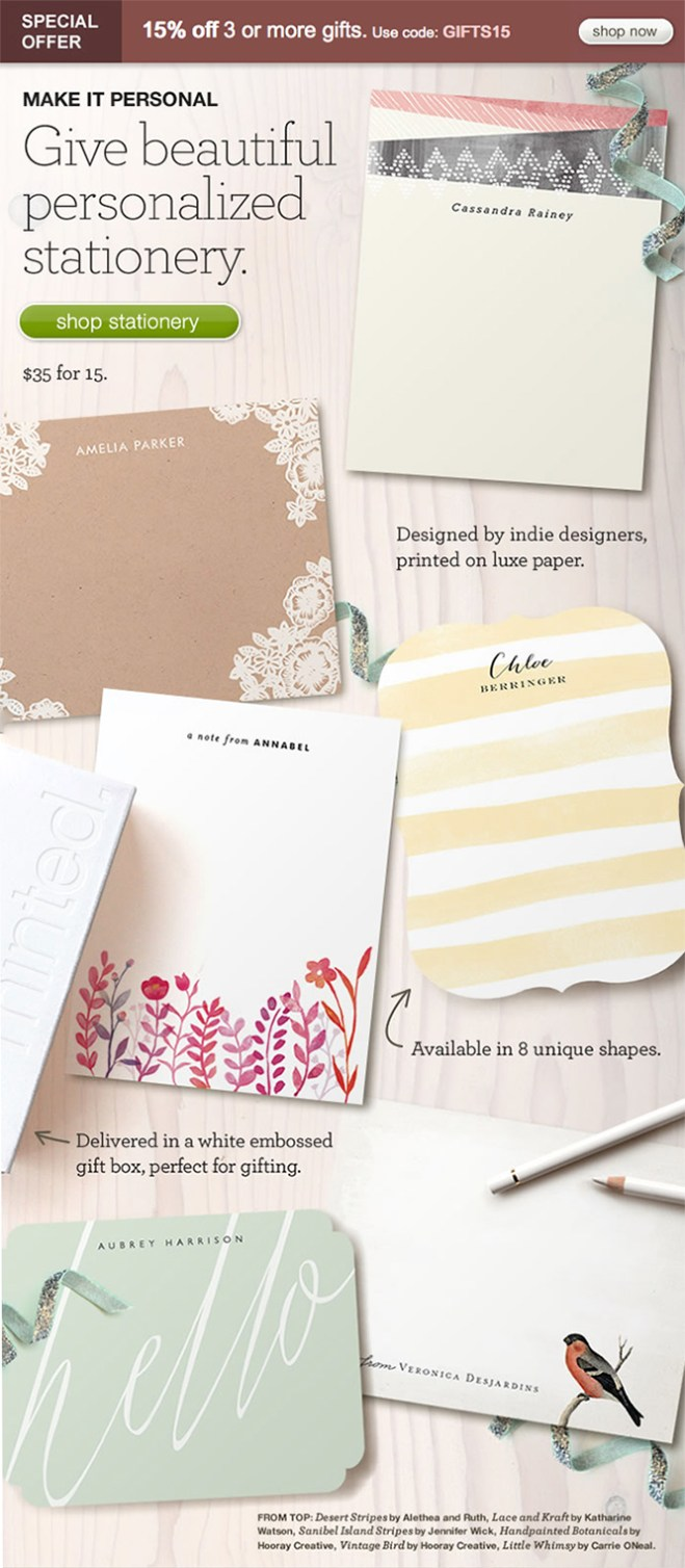 Minted Personal Stationery Gifts