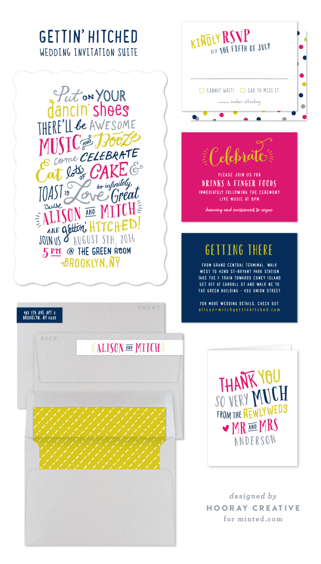 gettin hitched wedding invitation suite by hooray creative