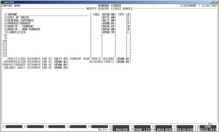 SECTION 651 - GENERAL LEDGER RANGES - profit and loss ledger