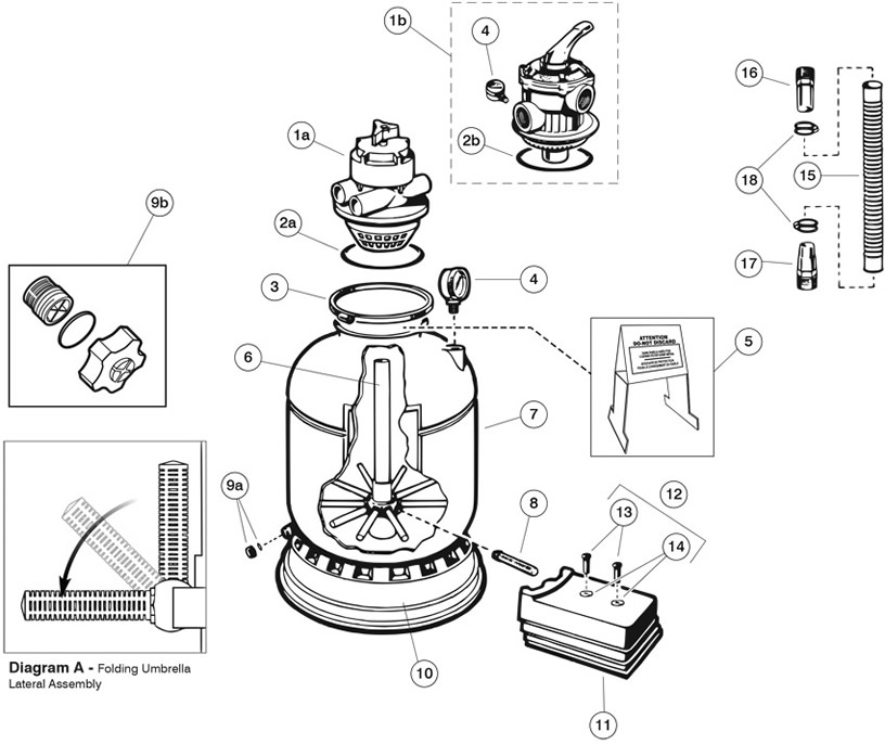 sand filter parts diagram pro series s140t s144t sand filter