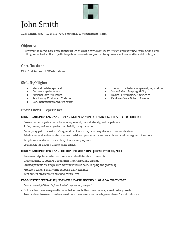 sample direct care worker resume