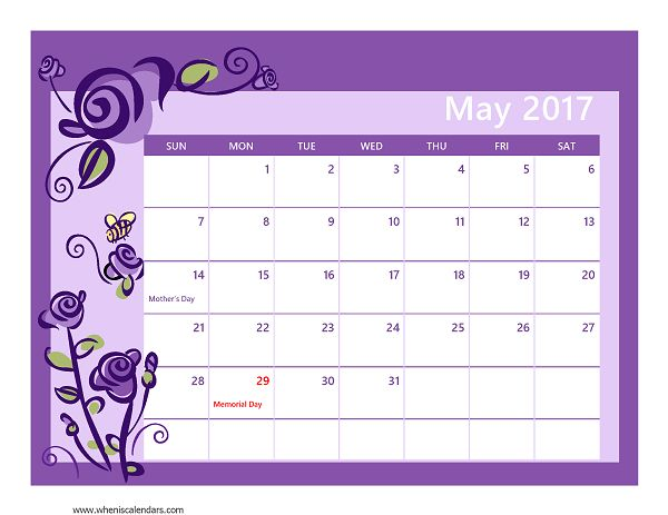 May Calendar 2018 Printable Holidays, Disney Crowd Calendar May 2018