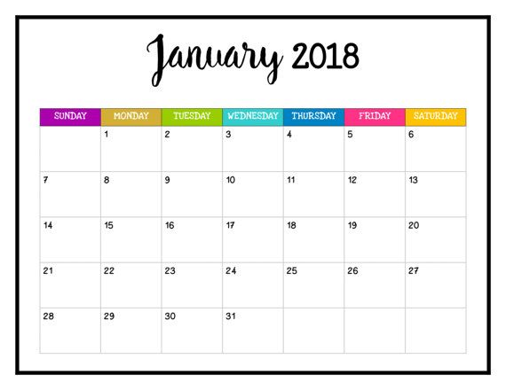 January 2018 Calendar Printable Templates Word PDF Excel