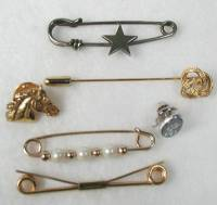 Six Vintage Pins Tie tack Sweater pin Horse Head hat pin
