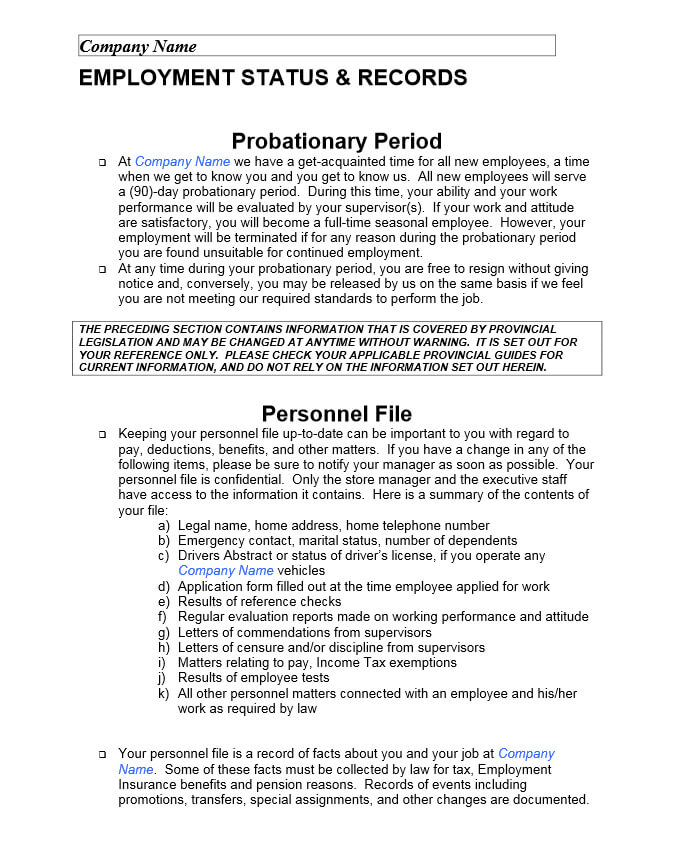 Sample Employee Policy Manual Professional resumes example online - sample employee manual template