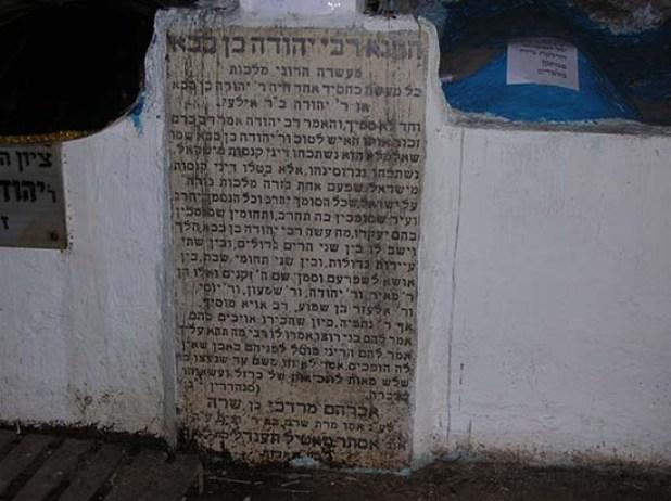 הציון של קבר רבי יהודה בן בבא