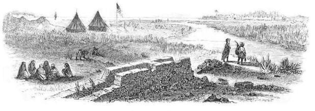 נחל נעמן כפי שצויר בשנת 1848 על ידי משלחתו של ויליאם פרנסיס לינץ'