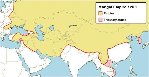 The extent of the Mongol Empire after the death of Möngke Khan (reigned 1251–1259). קרדיט: Keith Pickering