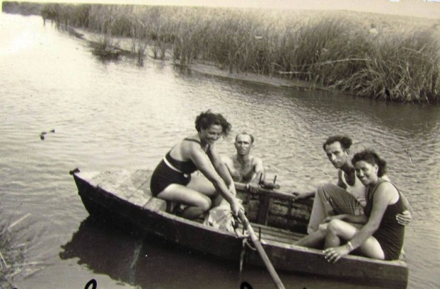 Rowing on Na'aman River, c. 1940-1950