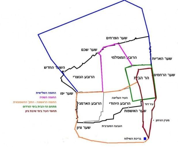 תרשים חומות ירושלים בימי בית שני קרדיט: ranbar