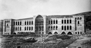 משכנו הראשון של הטכניון בשכונת הדר הכרמל, בצילום משנת 1913