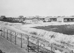 מבני מחנה וסטרבורק אחרי שחרור - Barracks at Westerbork transit camp after liberation.    צילום:Public Domain - UK Army - http://www.ushmm.org/