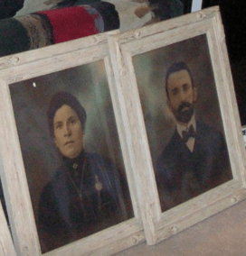 Hirsh and his wife Tzipe left Shklov, Russia at the end of the 19th Century and immigrated to Montreal, Canada with all of Hirsh's siblings. Because the family name was difficult to pronounce for the Canadian Immigration Service, each sibling received a different family name. Hirsh became Grossman. Others became Grossner. The rest I don't know. The young man & young woman the photo are Hirsh and Tzipe. Aren't they beautiful? These paintings are in the home of their grandson, Harvey Grossman.
