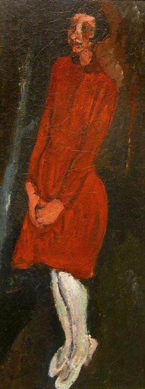 """חיים סוּטין יליד רוסיה, פעל בצרפת, 1943-1893 נערה באדום 1928 צבעי-שמן על בד גובה 81.3 ס""""מ, רוחב 37.3 ס""""מ שאילה ארוכת-טווח מאת ריצ'רד זייסלר, ניו-יורק, לידידי מוזיאון ישראל בארה""""ב"""