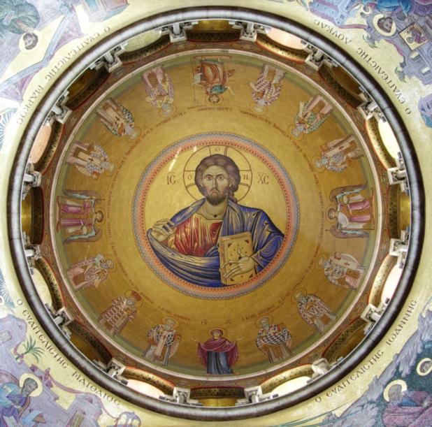 תמונת ישו מוקף בקדושים ומלאכים בכנסיית הקבר, ירושלים. צילום: Berthold Werner