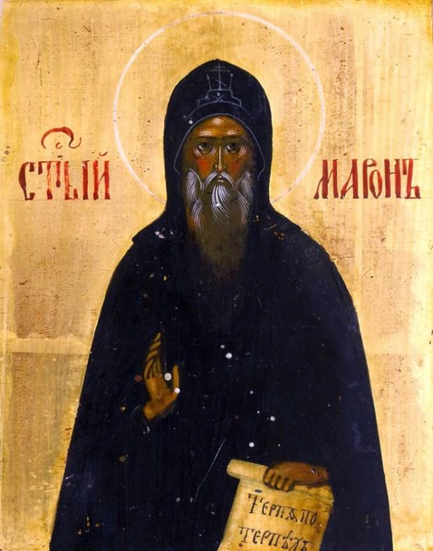 איור של מארון הקדוש, מייסד הכנסייה האנטיוכית ארמית מארונית. החל מהמאה ה-17 יום החג שלו נחגג ב-9 בפברואר