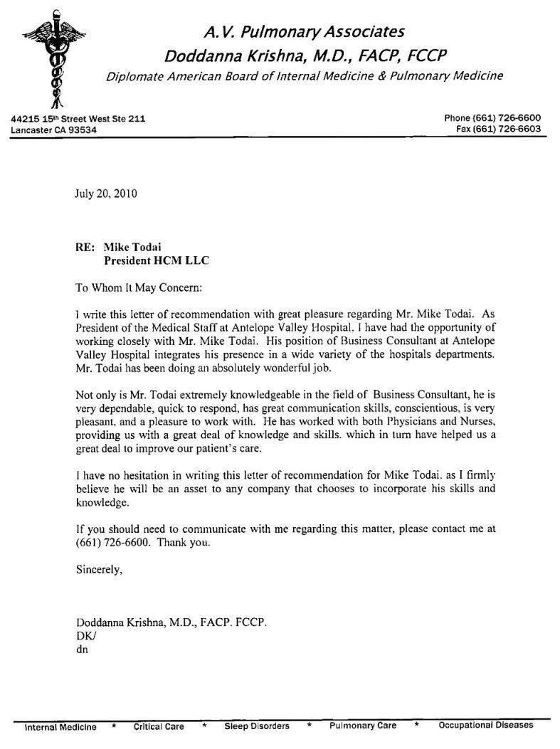 staff nurse recommendation letter
