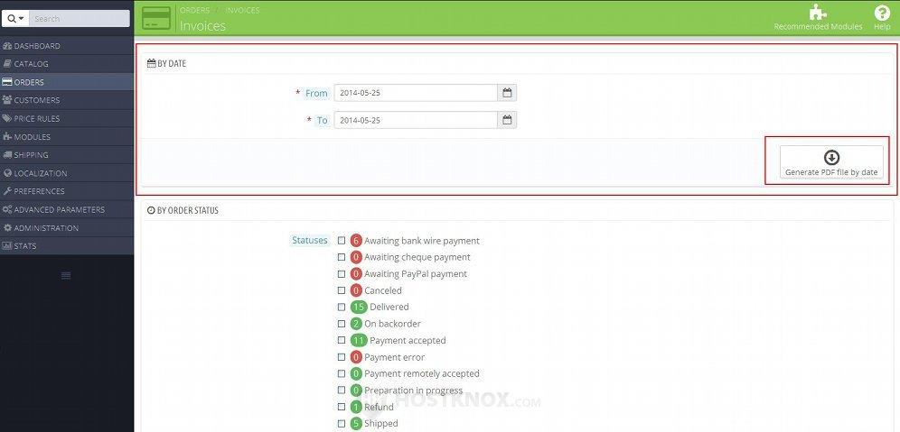 HostKnox  PrestaShop 15/16 Invoices Tutorial