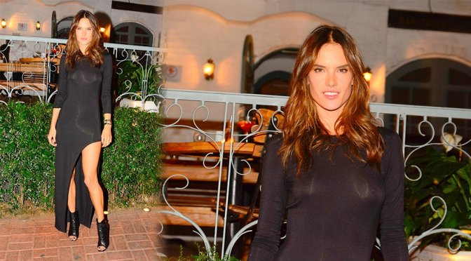 Alessandra Ambrosio – Braless See-Through Candids in Sao Paul