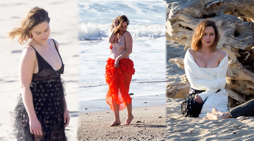 Emilia Clarke - Photoshoot Candids in Malibu