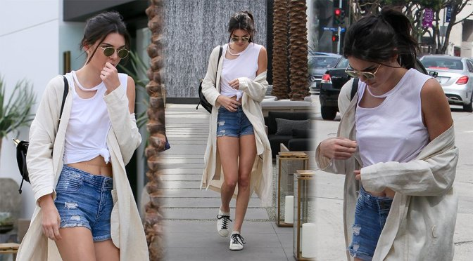 Kendall Jenner – Braless Candids in Beverly Hills