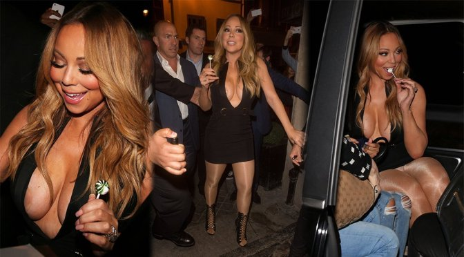Mariah Carey – Braless Candids at VIP Room in Paris