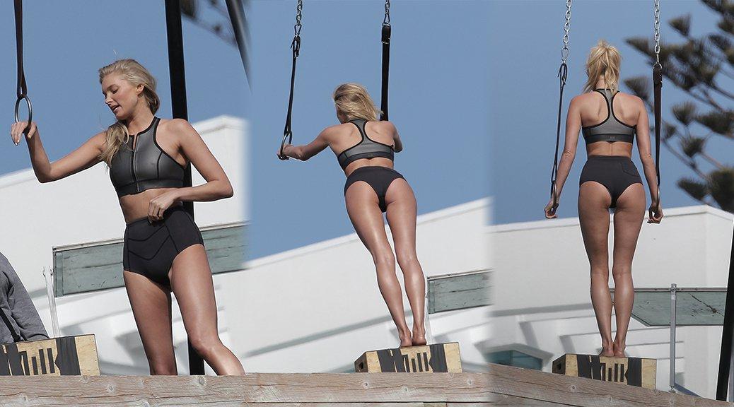Elsa Hosk - Bikini Photoshoot Candids in Malibu