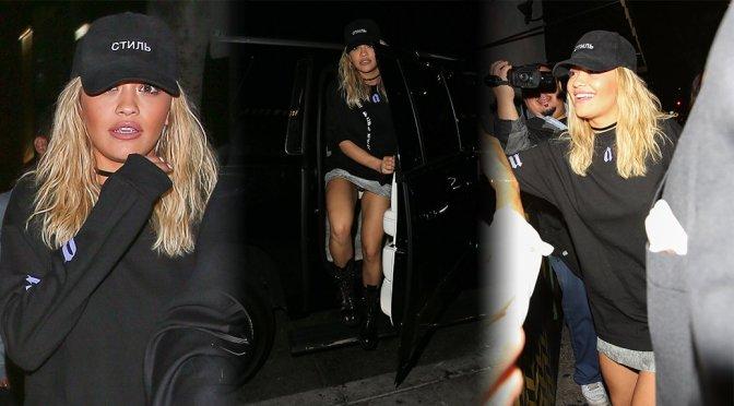 Rita Ora – Upskirt Candids at Warwick Nightclub in West Hollywood