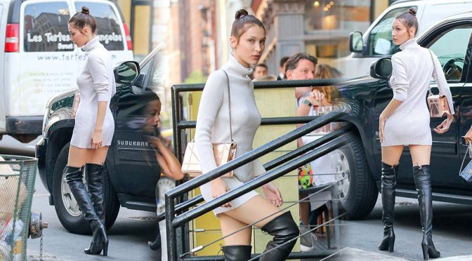Bella Hadid – Braless Candids in New York