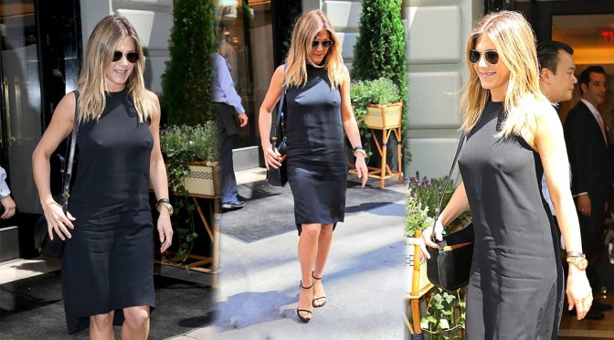 Jennifer Aniston – Braless Candids in New York
