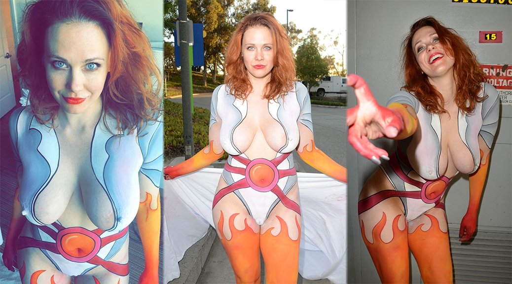 Maitland Ward - Bodypaint Naked Candids at Comic-Con