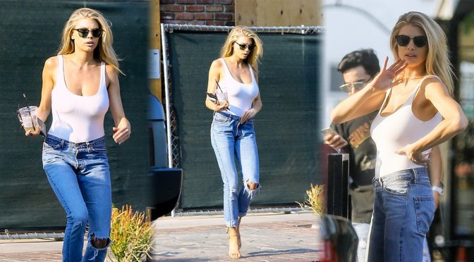 Charlotte McKinney – Braless Candids in West Hollywood
